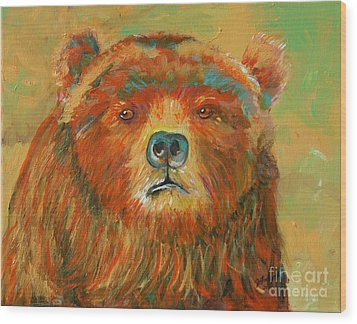 Colorful Bear Wood Print