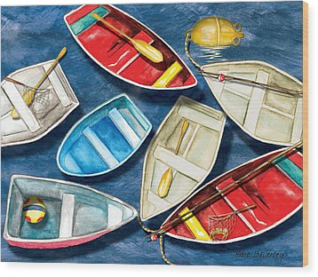 Wood Print featuring the painting Colorful Boats by Anne Beverley-Stamps