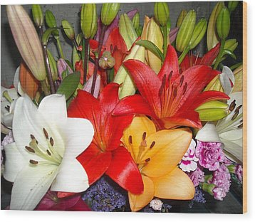 Colorful Bouquet Of Lilies - Lilium Wood Print by Liliana Ducoure