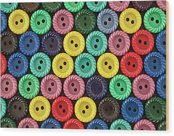 Colorful Buttons Wood Print by Jeff Suhanick