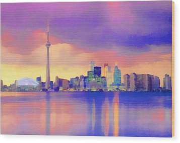 Wood Print featuring the digital art Colorful City Scape by Walter Colvin