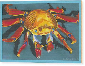 Colorful Crab With Border Wood Print by Stephen Anderson