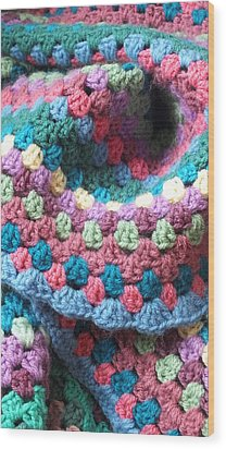 Colorful Crochet Wood Print by Emma Manners