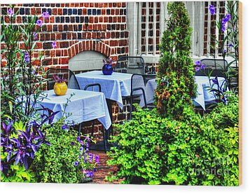 Colorful Dining Wood Print by Debbi Granruth