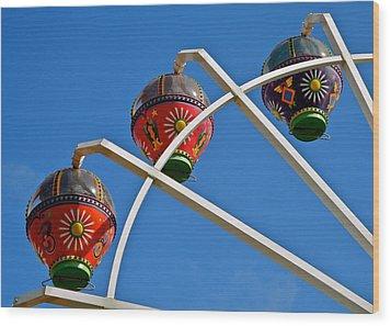 Colorful Ferris Wheel In Glenelg Wood Print by Kirsten Giving