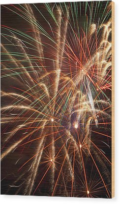 Colorful Fireworks Wood Print by Garry Gay
