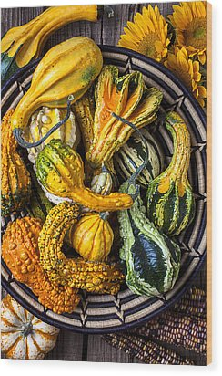 Colorful Gourds In Basket Wood Print by Garry Gay