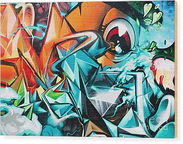 Colorful Graffiti Fragment Wood Print by Yurix Sardinelly