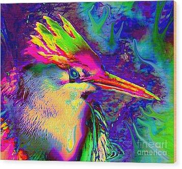 Colorful Heron Wood Print by Doris Wood