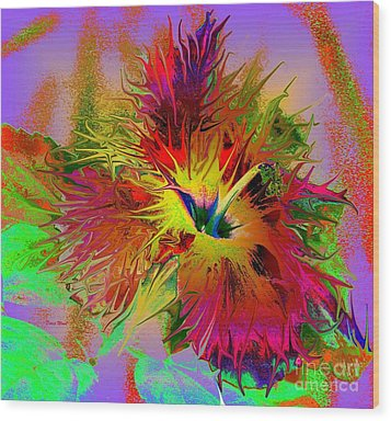 Colorful Hibiscus Wood Print by Doris Wood