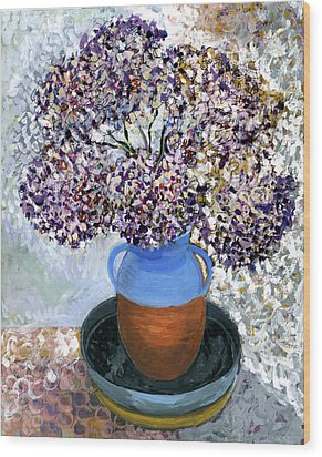 Colorful Impression Of Purple Flowers In Blue Brown Ceramic Vase Yellow Plate With Green Branches  Wood Print by Rachel Hershkovitz