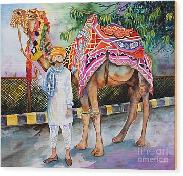 Wood Print featuring the painting Colorful India by Priti Lathia