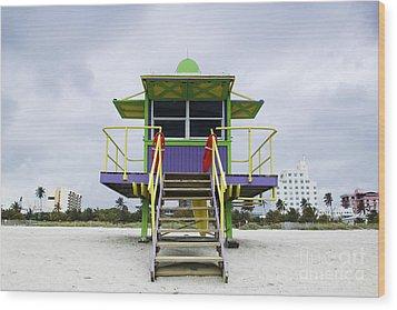 Colorful Lifeguard Station Wood Print by Jeremy Woodhouse