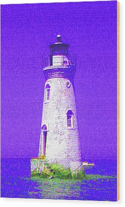 Colorful Lighthouse Wood Print by Juliana  Blessington