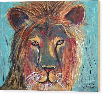 Colorful Lion Wood Print