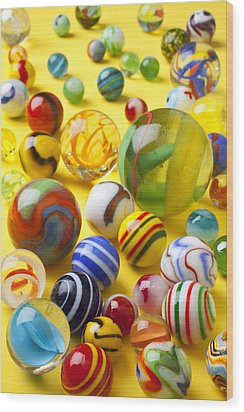 Colorful Marbles Wood Print by Garry Gay