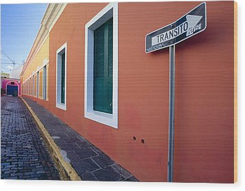 Colorful Narrow Street With A Sign Wood Print by George Oze