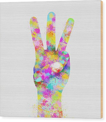 Colorful Painting Of Hand Point Three Finger Wood Print by Setsiri Silapasuwanchai