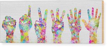 Colorful Painting Of Hands Number 0-5 Wood Print by Setsiri Silapasuwanchai
