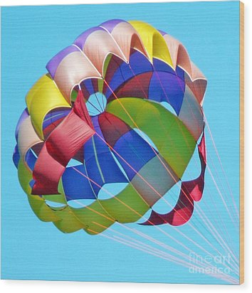 Colorful Parachute Wood Print by Val Miller