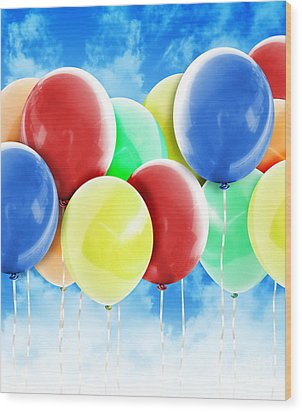 Colorful Party Celebration Balloons In Sky Wood Print by Angela Waye