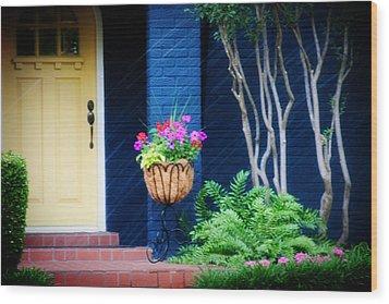 Colorful Porch Wood Print by Toni Hopper