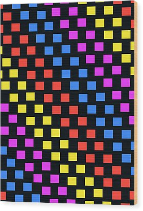 Colorful Squares Wood Print by Louisa Knight
