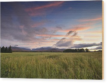 Colorful Sunset Over The High Peaks Wilderness In Adirondack Park - New York Wood Print by Brendan Reals
