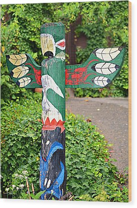 Colorful Totem Wood Print by Susan Leggett