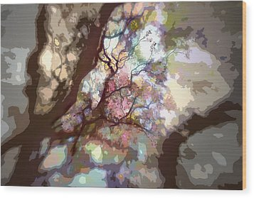 Colorful Tree Wood Print by Diane Dugas