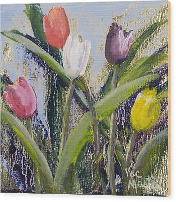 Colorful Tulip Series Wood Print by Vic  Mastis