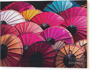 Wood Print featuring the photograph Colorful Umbrella by Luciano Mortula