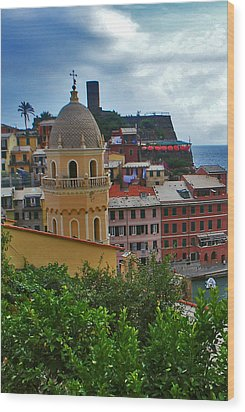 Colorful Village Of Vernazza Located In Cinque Terre Liguria Italy Wood Print by Jeff Rose