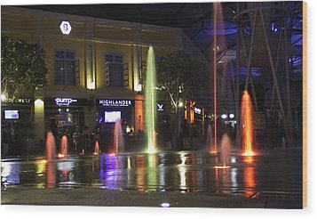 Colorful Water Jets At Clarke Quay In Singapore Wood Print by Ashish Agarwal