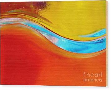 Colorful Wave Wood Print by Carlos Caetano