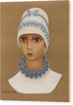 Colorful Young Woman Brown Eyes Blue White Hat Collar  With Ribbon Small Lips Wood Print by Rachel Hershkovitz