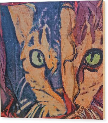 Colors Of A Cat Wood Print by Ruth Edward Anderson