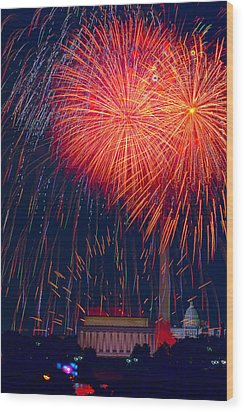 Colors Over The Capital Wood Print by David Hahn