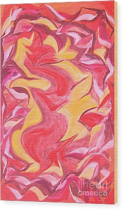 Colour Me Pink Yellow 'n Red Wood Print by Rachel Carmichael