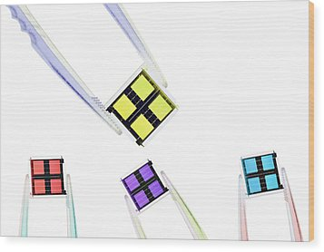 Coloured Microchips Wood Print by Gombert, Sigrid