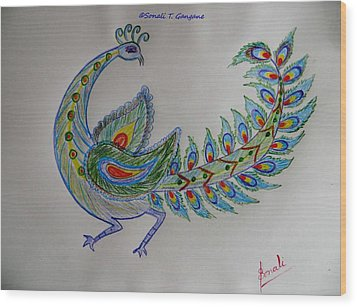 Colourful Bird Wood Print by Sonali Gangane