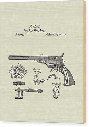 Colt Firearms 1839 Patent Art Wood Print by Prior Art Design