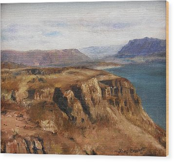 Wood Print featuring the painting Columbia River Gorge I by Lori Brackett