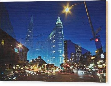 Columbus Street Wood Print by Phoenix Wang