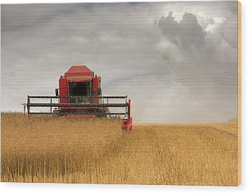 Combine Harvester, North Yorkshire Wood Print by John Short