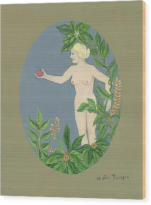 Come And Get It Eva Offers A Red Apple  To Adam In Green Vegetation Leaves Plants And Flowers Blond  Wood Print by Rachel Hershkovitz