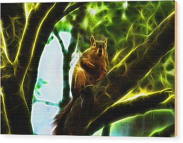 Wood Print featuring the digital art Come On Up - Fractal - Robbie The Squirrel by James Ahn