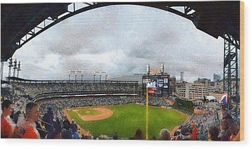Comerica Park Home Of The Detroit Tigers Wood Print by Michelle Calkins