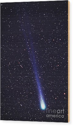 Comet Hyakutake Wood Print by Jerry Schad and Photo Researchers