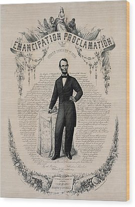 Commemorative Print Of Abraham Lincoln Wood Print by Everett